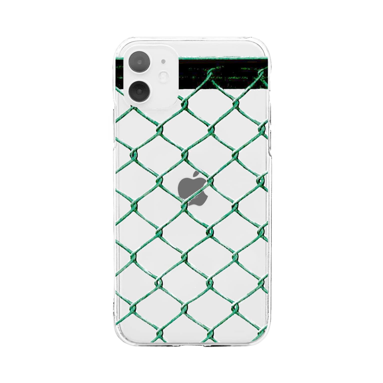 采-aya-の金網フェンス裏 Soft clear smartphone cases