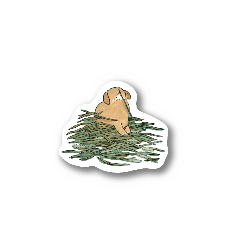 SCHINAKO'Sのチモシーに埋もれるうさぎさん オレンジロップ Stickers