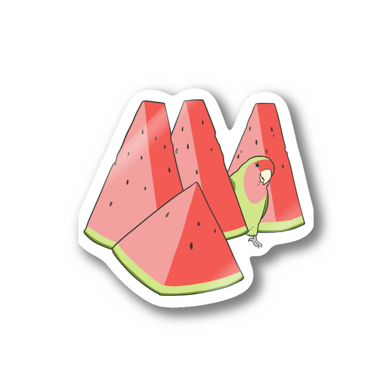 インコグッズ屋のスイカとコザクラインコ Stickers