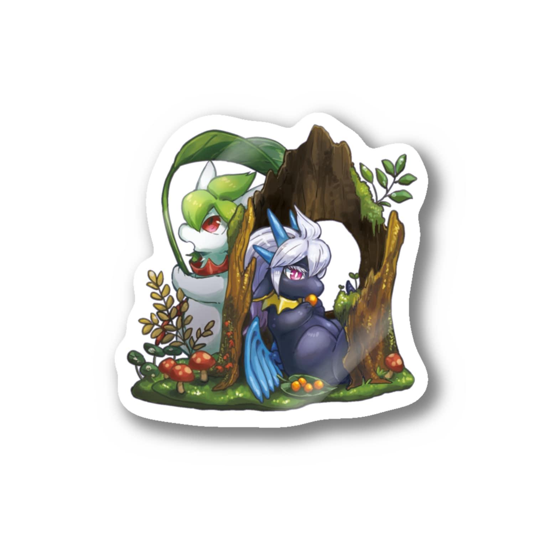 BARE FEET/猫田博人の雨の森(side:ティー)・ステッカー Stickers