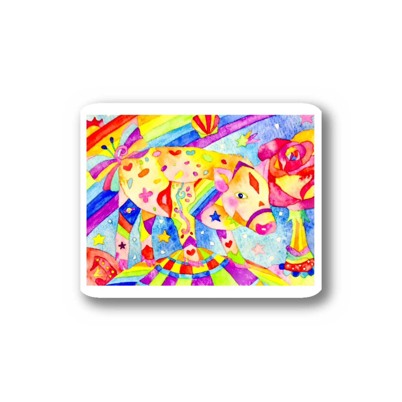 shu-shuの水彩イラスト ブタ Stickers