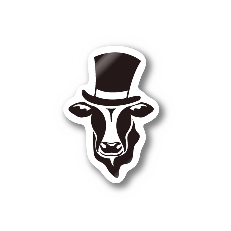 Mattyanの牛が良き(black) Stickers