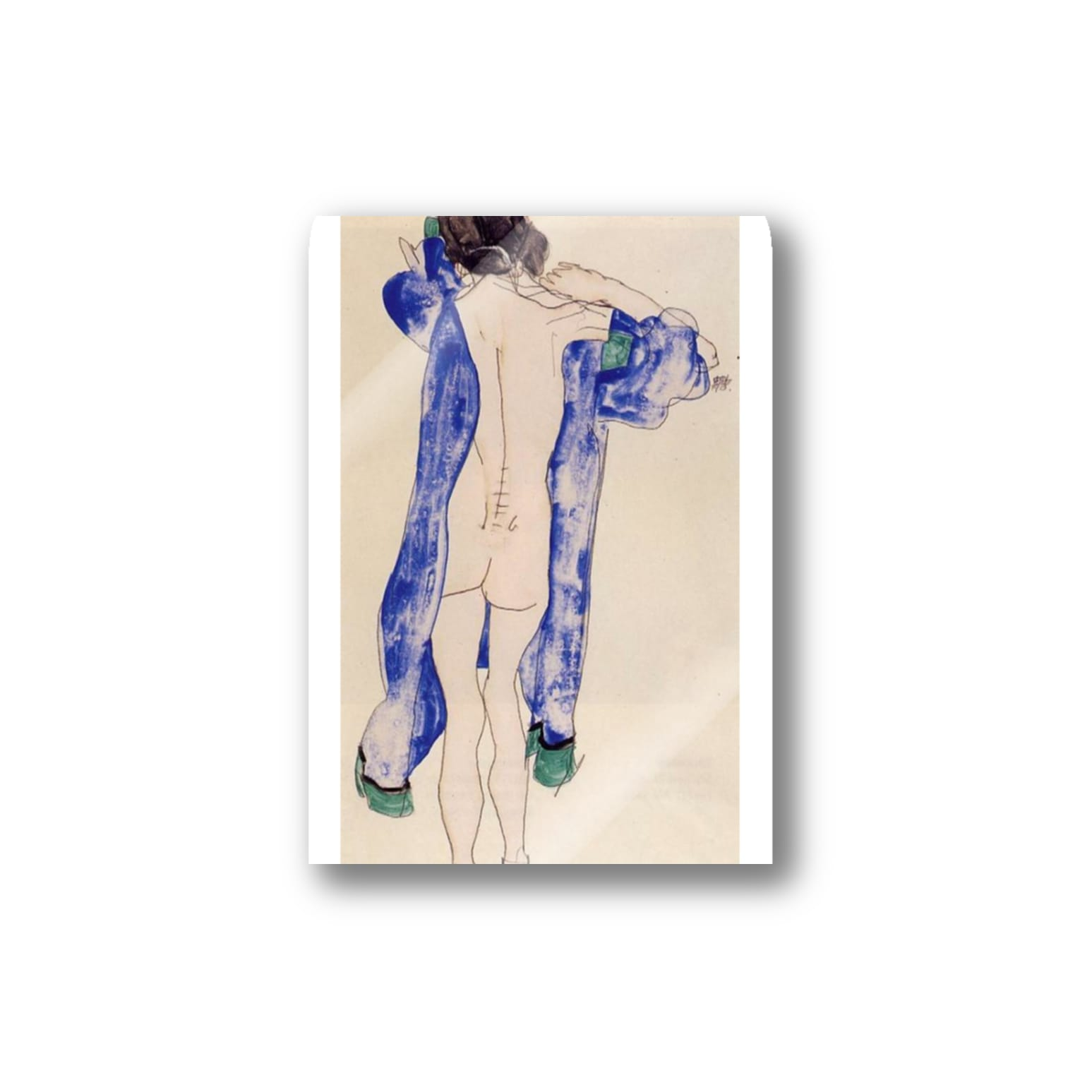 Art Baseのエゴン・シーレ / 1913 / Standing Female Nude in a Blue Robe / Egon Schiele Stickers
