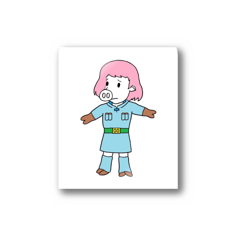 豚人イラストのパンダ武島の風の谷のナウいブタ Stickers
