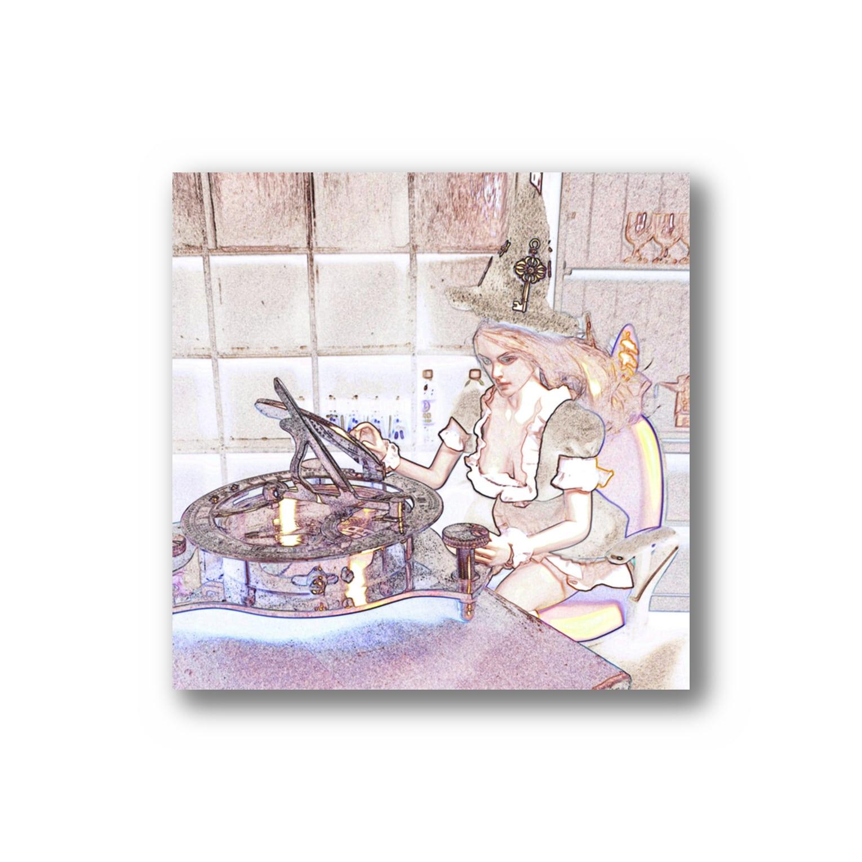 FUCHSGOLDのCG絵画:時間を操るメイド服の魔女 CG art: Witch with sundial Stickers