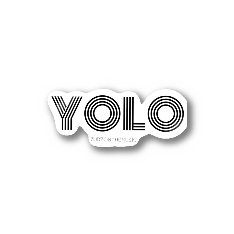 judyonthemusicのYOLO black Stickers