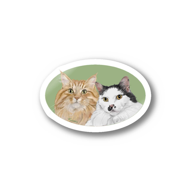 kinako-japanの猫社長さん 猫専務さん 緑 Stickers