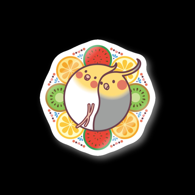 オカメインコのほほらら工房 SUZURI支店の【オカメインコ】フルーツオカメズステッカー