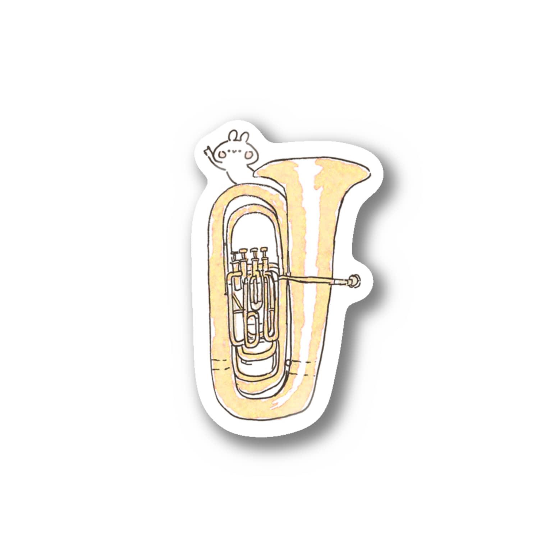 *momochy shop*のチューバB♭管とうさぎ ステッカー