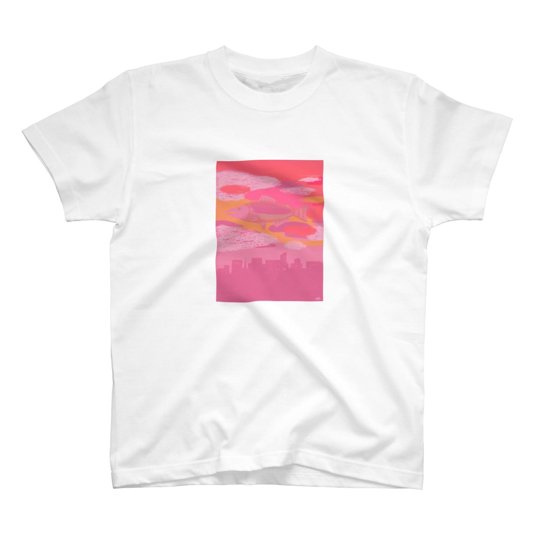 elliのサーモンピンクの街でsort Tシャツ