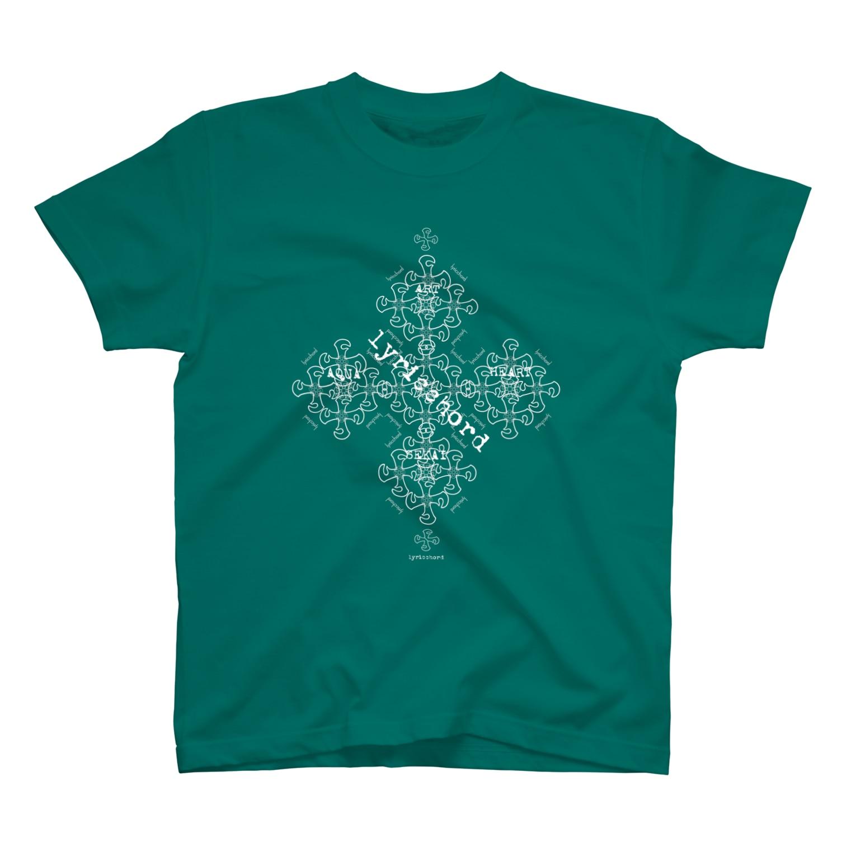 ERIKOERIN ART SHOPのlyricchordクロス白ライン/ドローイングアート Tシャツ
