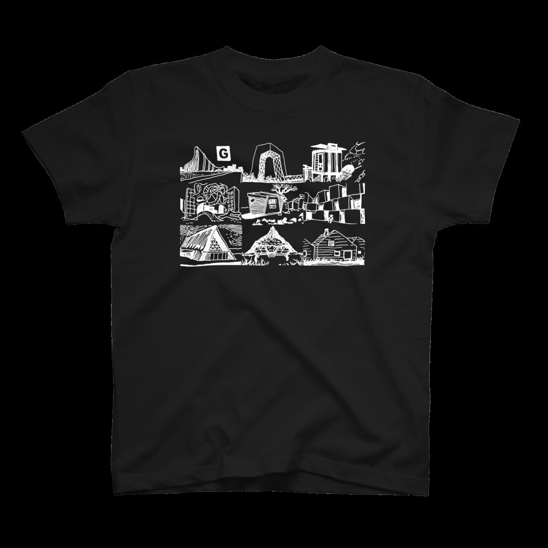 GO STORES   のまいにちけんちく BLACK Tシャツ