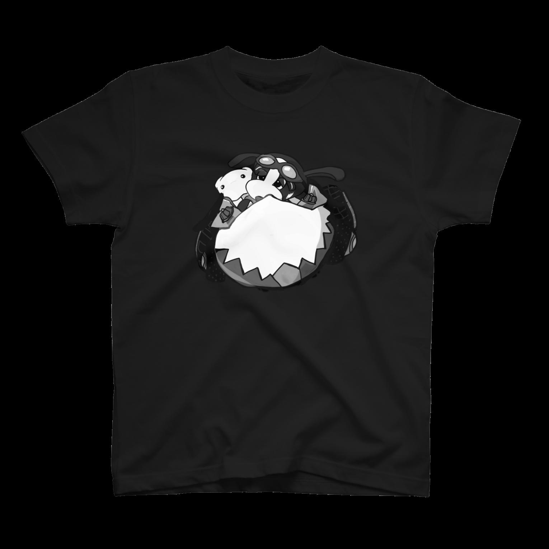 すあだショップのわんたんマシーン(モノクロ)Tシャツ