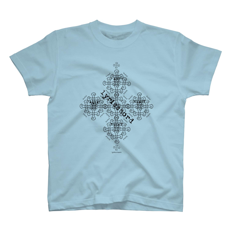 ERIKOERIN ART SHOPのlyricchordクロス黒ライン/ドローイングアート Tシャツ