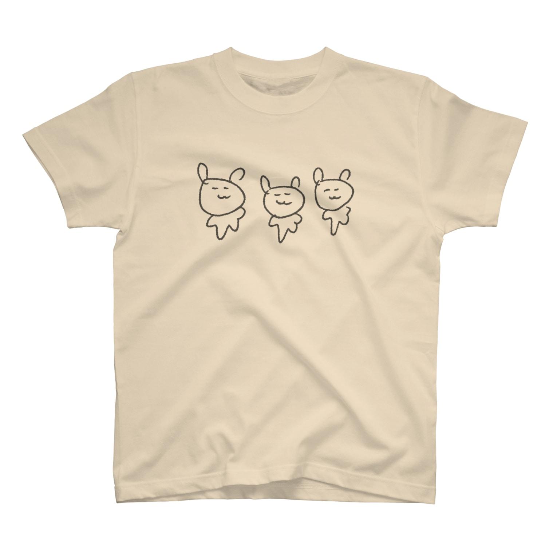 puopuo paopaoのさんびきうさぎ T-shirts