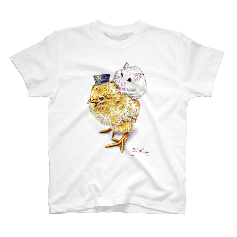 ボールペン画と可愛い動物のこっちだよ。(文字なし) Tシャツ