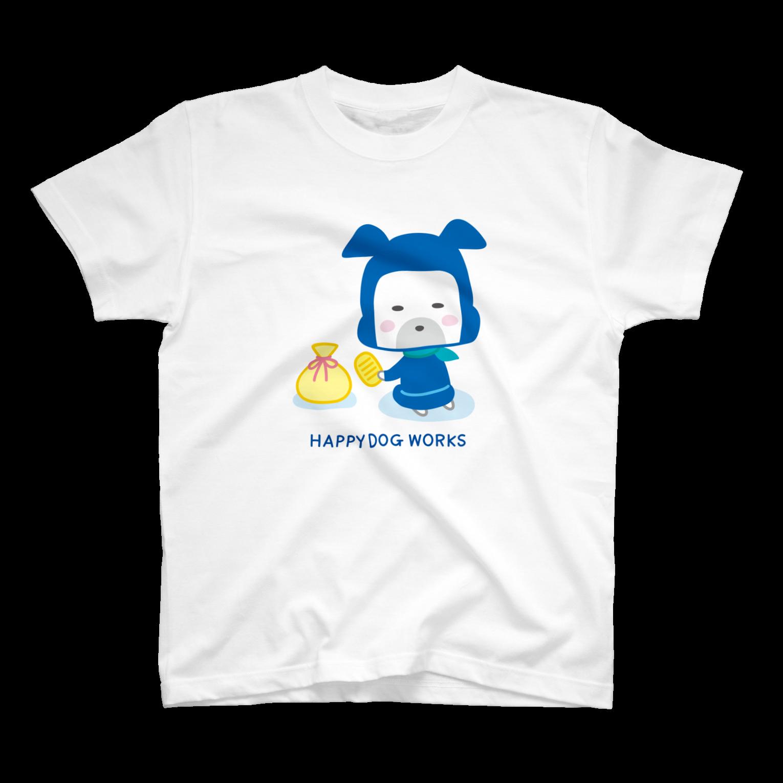 HAPPYDOG製作所@SUZURI支店のHAPPY DOG WORKS 忍者_にやり Tシャツ