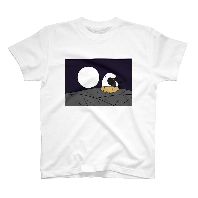 シマエナガの「ナガオくん」公式グッズ販売ページの花札「月とシマエちゃん」 Tシャツ
