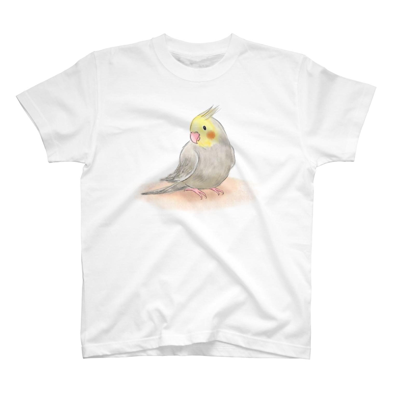 まめるりはことりのオカメインコ シナモン【まめるりはことり】 Tシャツ