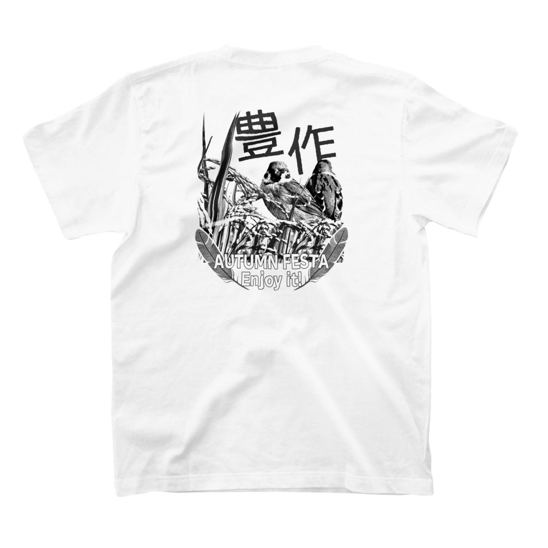 aliveONLINE SUZURI店の東京すずめ(豊作スズメTシャツmono2) T-shirtsの裏面