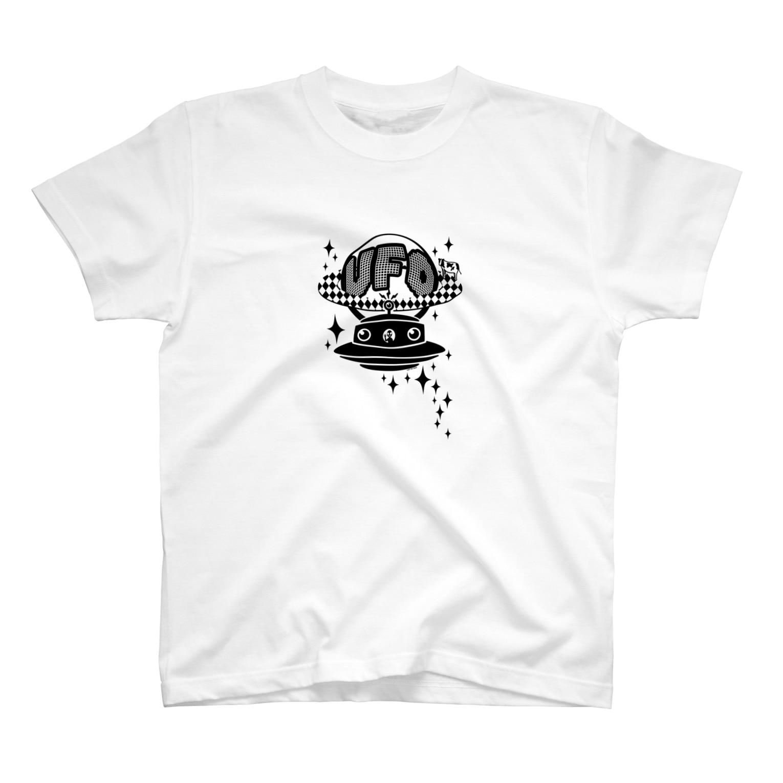 Cɐkeccooの宇宙にきらめく宇宙人★未確認飛行物体★UFO★‐ブラック T-shirts