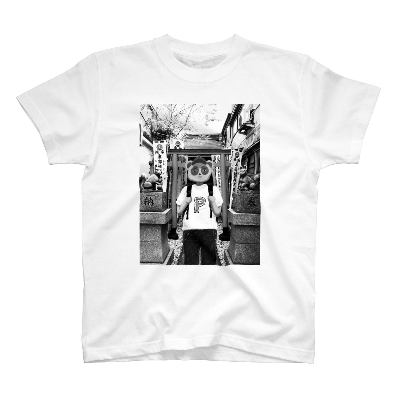 crane_and_horseのJINJYA  TANUKI(モノクロver.) T-shirts
