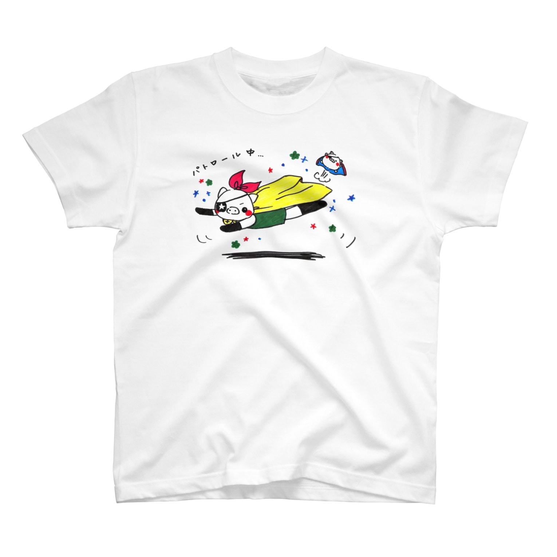 麻生塾 デザイン・クリエイティブ実験SHOPのパトロールぶーちゃん T-shirts