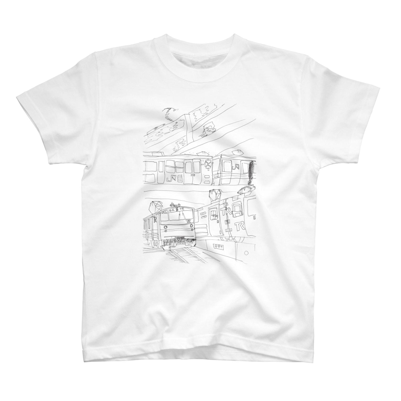 *Nijiiro records*の東日本の三階建ての鉄橋 T-shirts