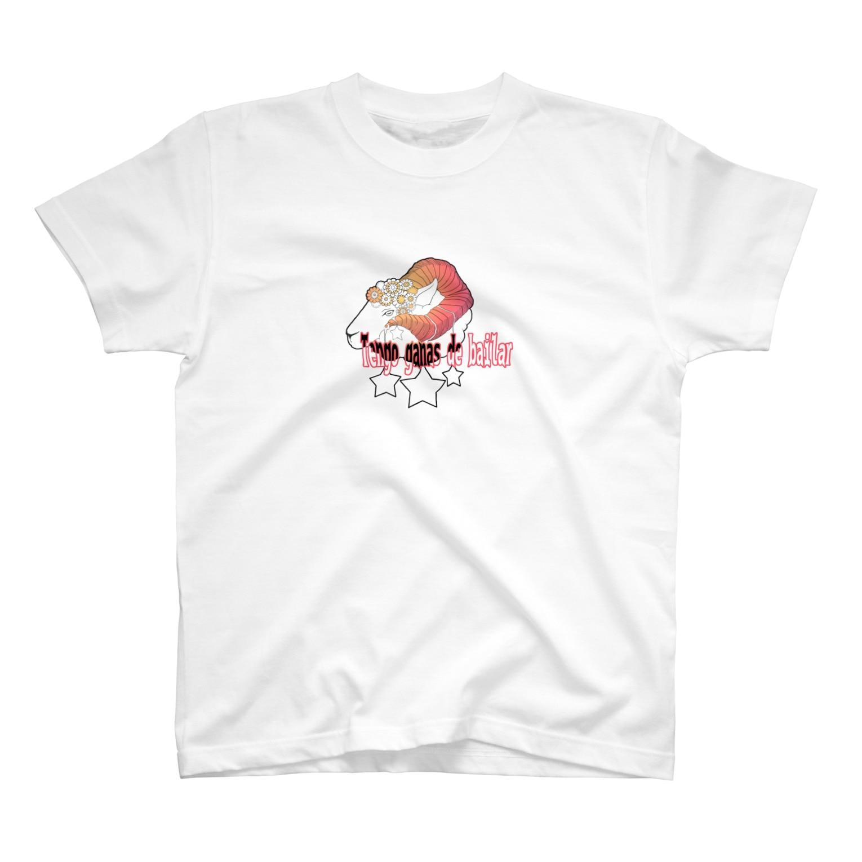 なべち⁂羊の角。の踊りたい気分(赤 文字白黒) T-shirts