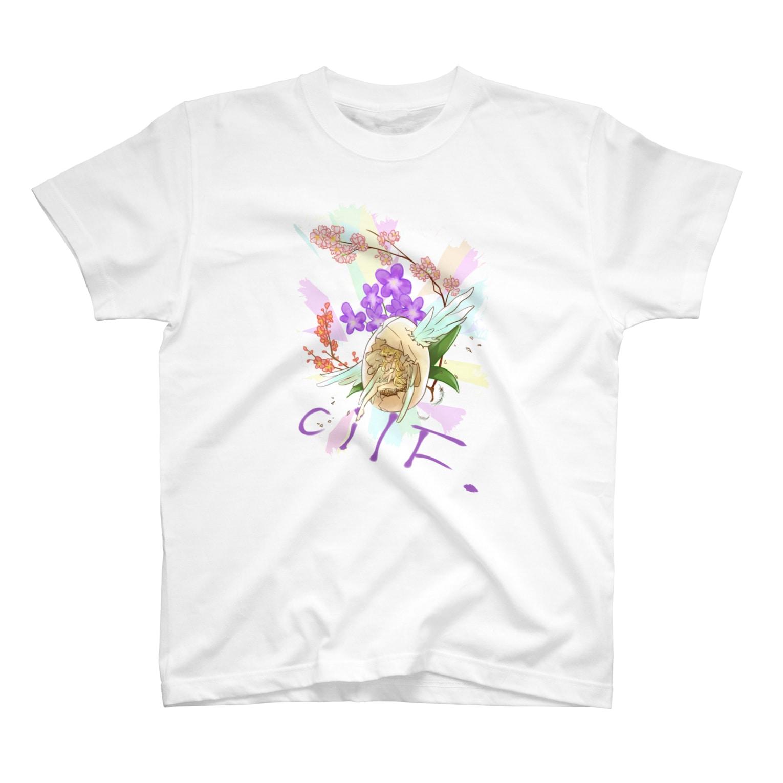 都市伝説屋cilF✴︎シルフの風の妖精 purple T-shirts