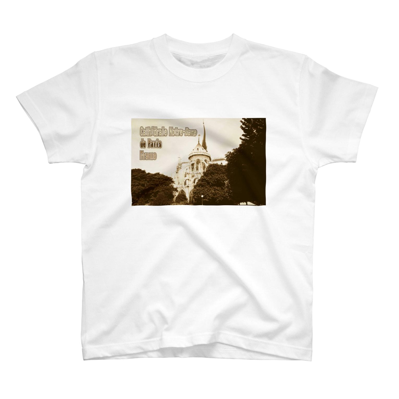 FUCHSGOLDのフランス:パリのノートルダム大聖堂 France: Notre-Dame de Paris ( before the fire 2019 ) T-shirts