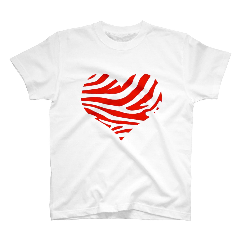 AAAstarsのシマウマハート-赤 T-shirts