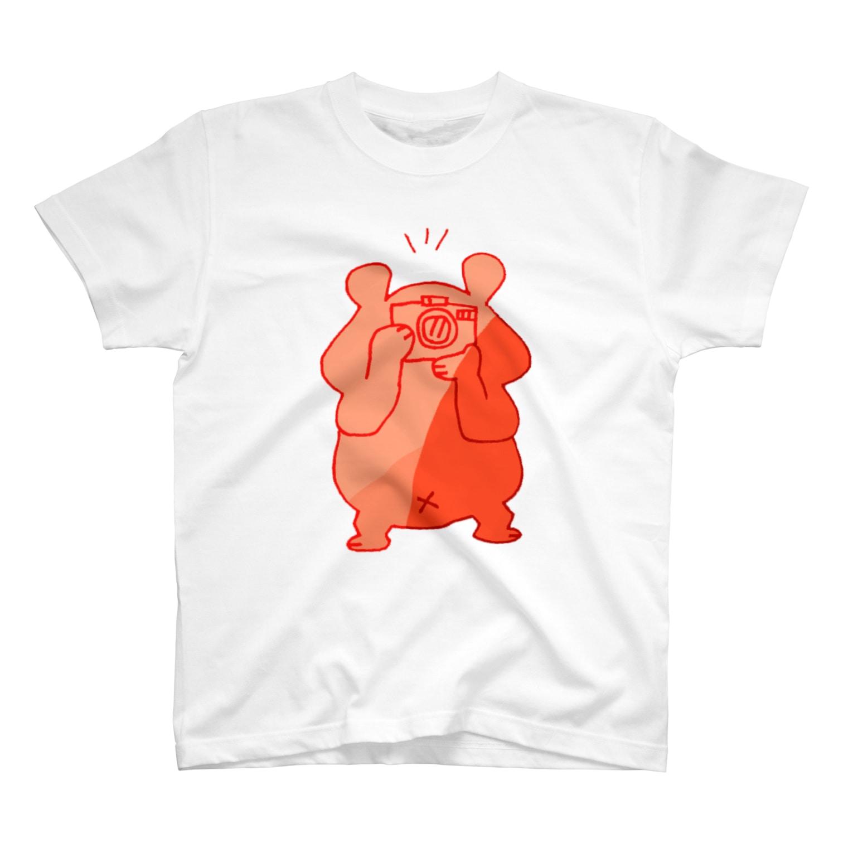 shirokumasaanのカメラ小僧 赤 T-shirts