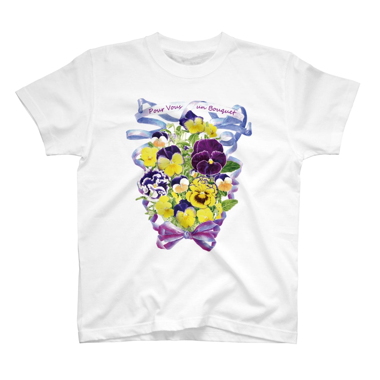 botanical_art_salonの花束を君に ボタニカルアート 花柄 Tシャツ T-shirts