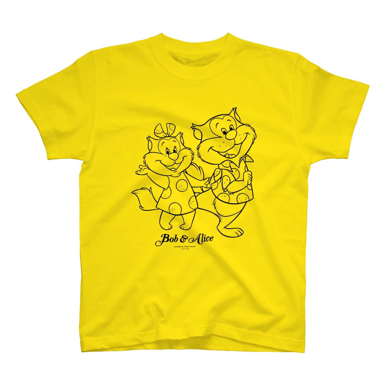 NPO法人 愛・あいネットのボブ&アリス(黒線画) Tシャツ