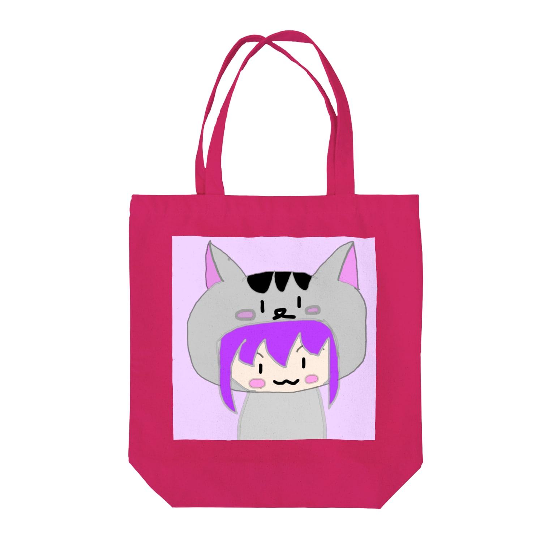 市イラストグッズショップの猫耳パーカー娘 Tote bags