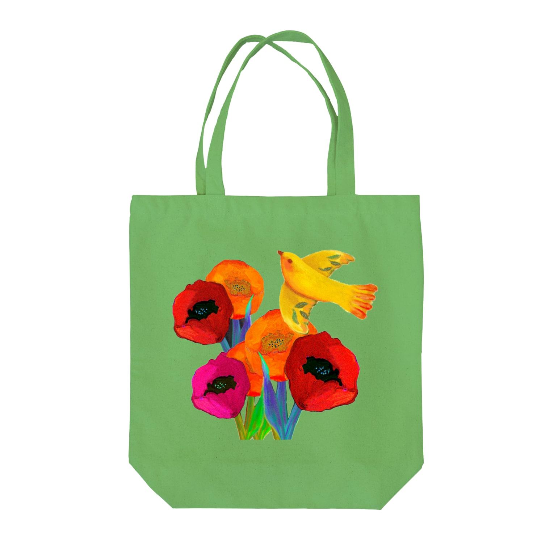 hiish - イッシュ -のFlower&Bird Tote bags