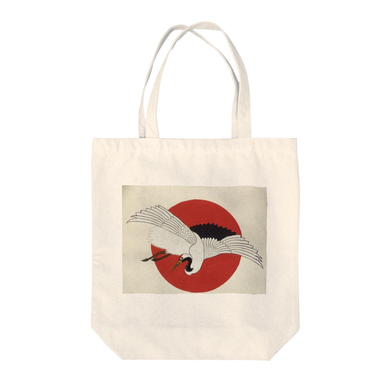 梅さんの日の出に鶴 Tote bags