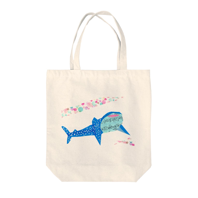 Animal pokkeのにっこりジンベイザメ Tote bags