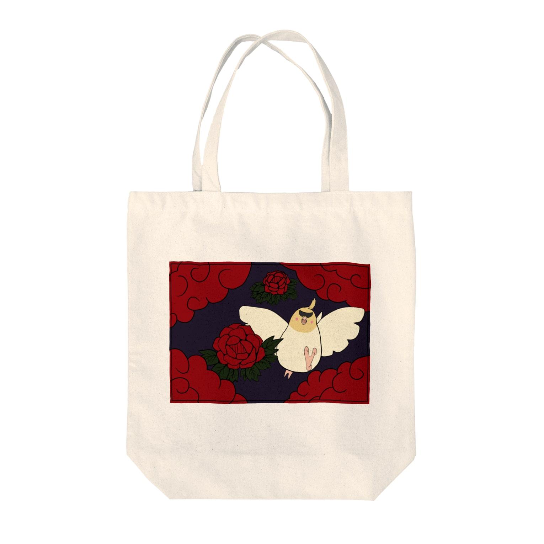 シマエナガの「ナガオくん」公式グッズ販売ページの花札「牡丹とオカメ」 Tote bags