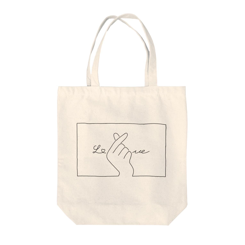 SIRO%(しろぱーせんと)の指ハート(Black) Tote bags