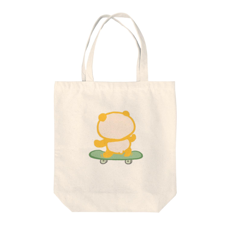 ぱんだ丸ショップのスケボーパンダ Tote bags
