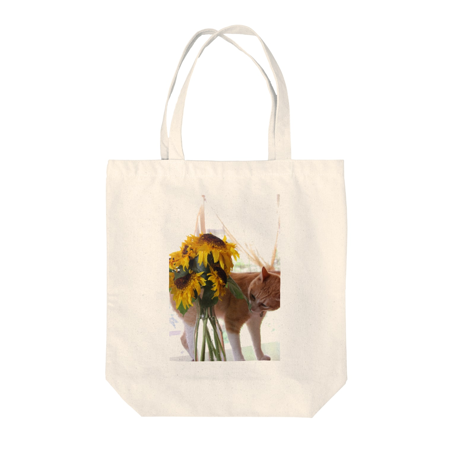 Catoneの猫写真シリーズ 向日葵と猫  Tote bags