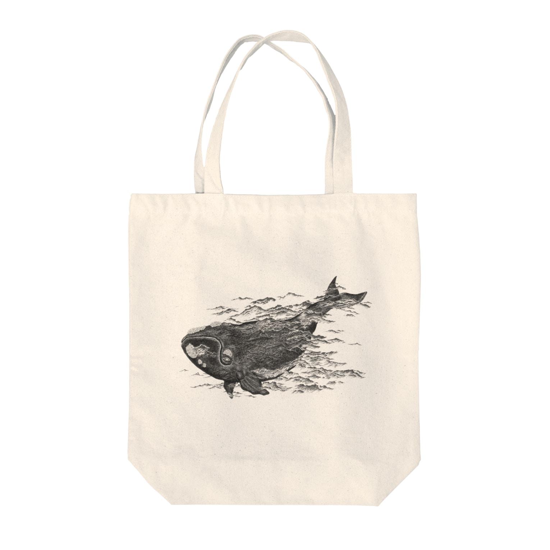 いきものイラストショップのセミクジラ Tote bags