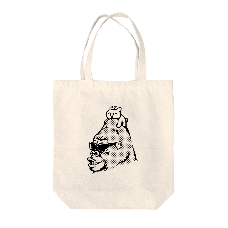 GemBox SUZURI店のモナーのせゴリラ モナコイン 単色BK (SZ) GemBox Tote bags