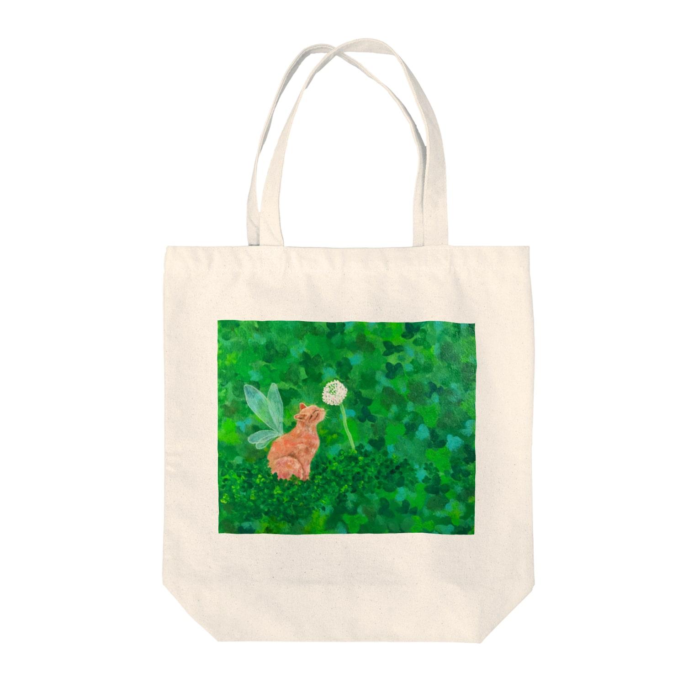 saiko-ruiのクローバー猫天使 Tote bags