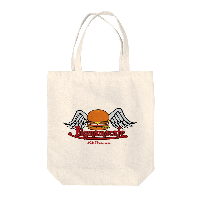 BigmamacafeのBigmamacafe ハンバーガーロゴ Tote bags