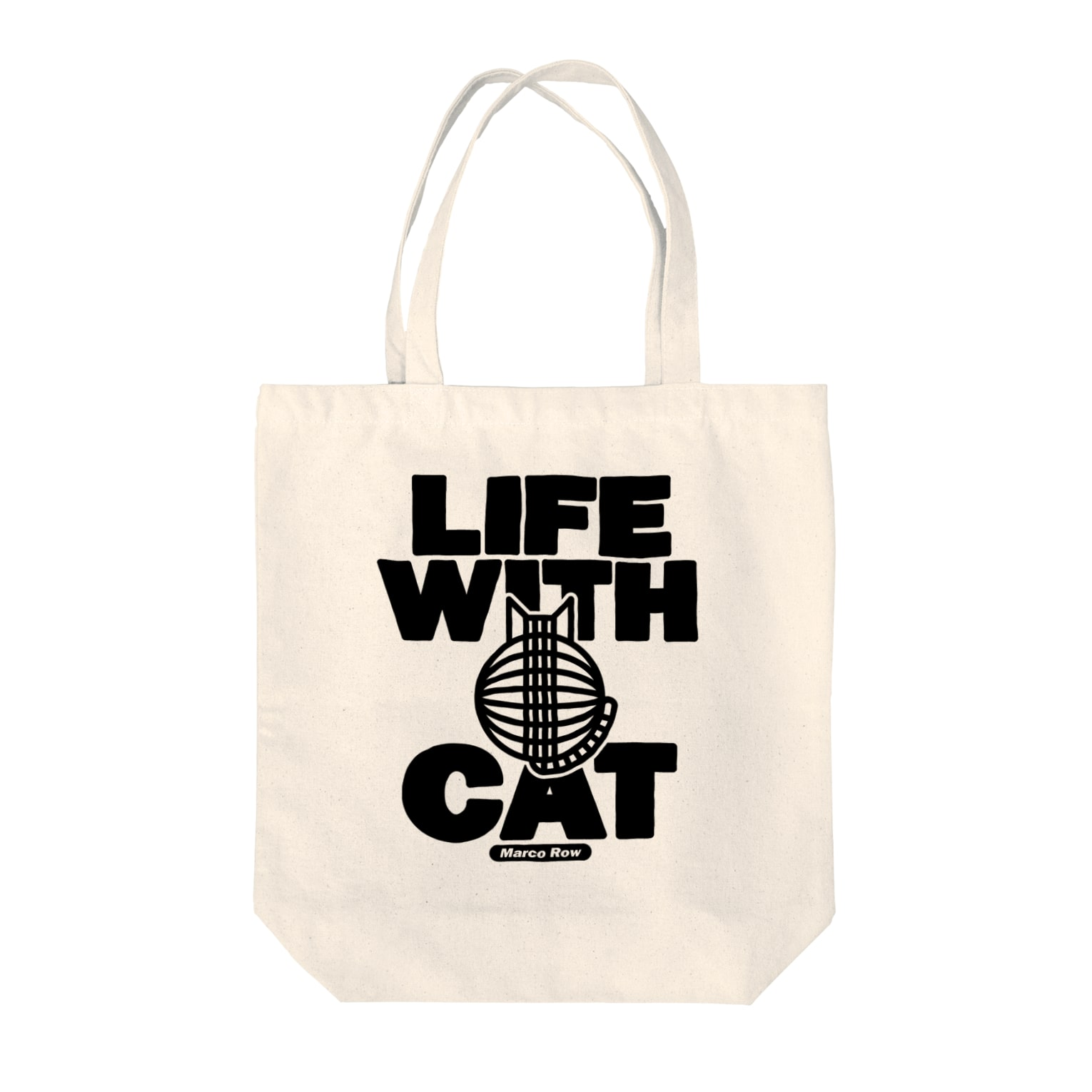 SHOP W SUZURI店のLIFE WITH a CAT トートバッグ Tote bags