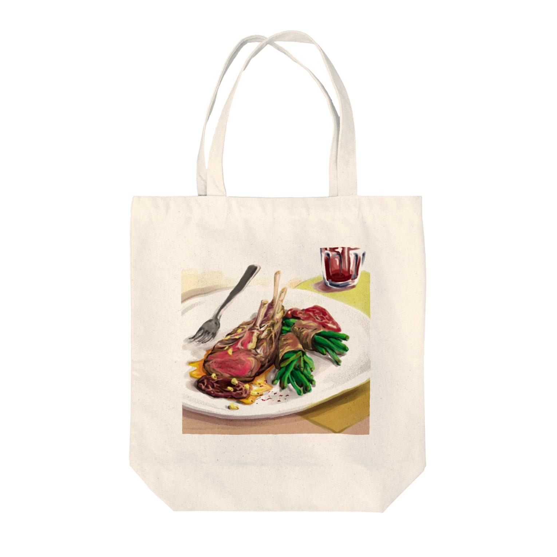 晶のラムチョップ Tote bags