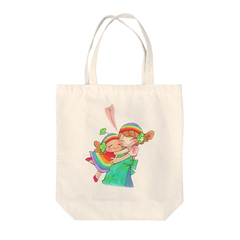 虹色CAFEのオリジナルキャラ「ハッピーちゃん」ぎゅぅ〜 Tote bags